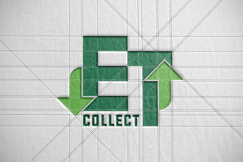 Kujundustöö algab täpsest alusjoonisest. ET Collect'i logo põhineb lihtsatel geomeetrilistel vormidel: ruudud, täisnurgad, ringid ja 45-kraadised diagonaalid.  Design work begins from precise draft drawing. ET Collect's logo is based on simple geometric shapes: squares, perpendicular angles, circles and 45-degree diagonals.