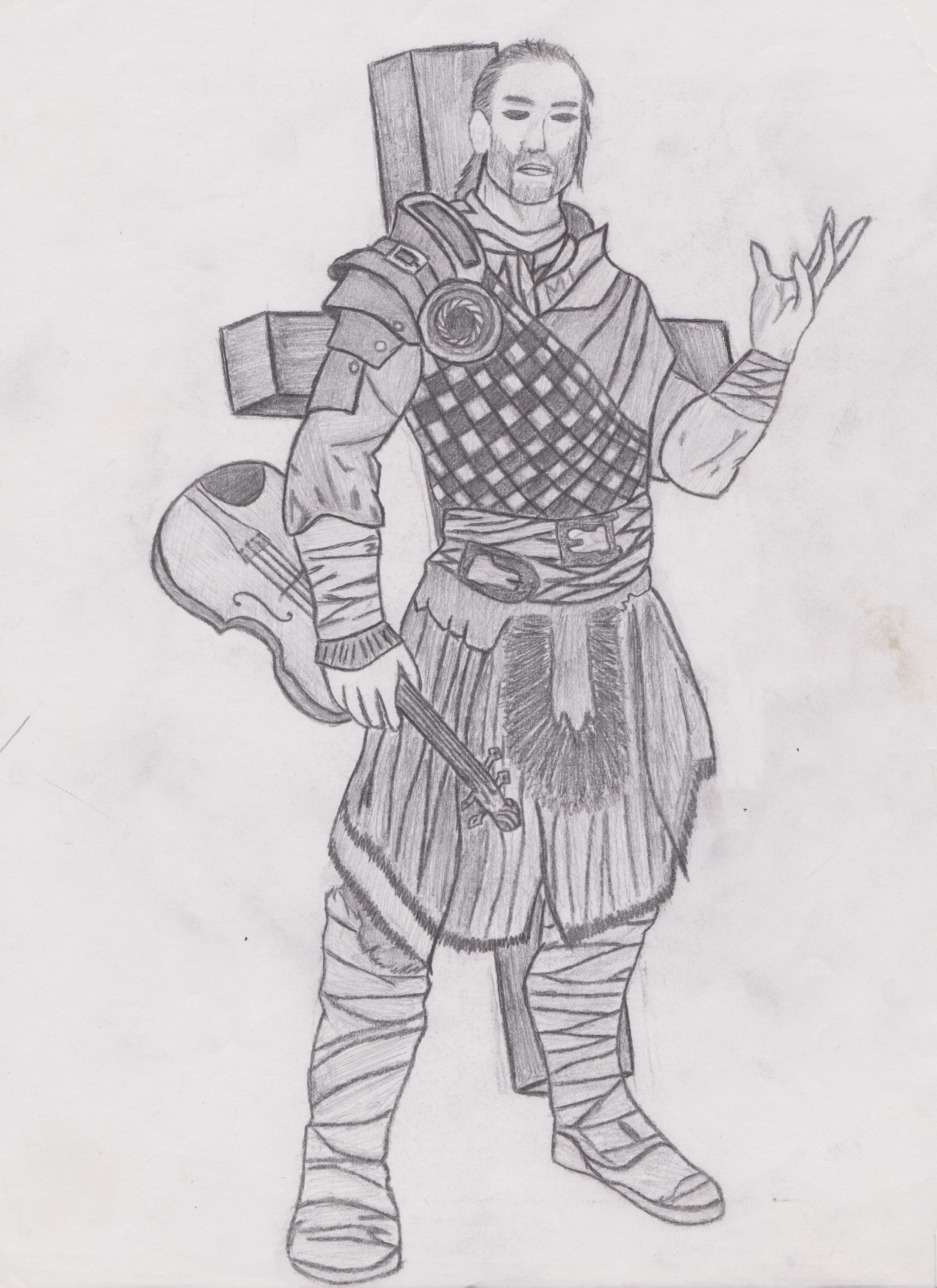 Dash the Bard -   Dash the Bard was a lot of fun. You see he was a paladin of a trickster god. I only used him while playing in the module Castle Ravenloft. Which I highly recommend to any D&D players from the advanced edition of D&D on. He earned his title The Bard because he was a really chill guy who could calm a Balor demon down with his words, and happened to like playing his violin for anyone who cared to listen. However, he was most certainly not of the Bard Class.   Using a series of feats from the Book of Exalted Deeds (3.5) and combining them with a Vow of Poverty, and the Vow of Peace forced for a rather unique playing experience. For anyone, or anything that was within a 20ft radius of Dash would have to pass a 21 will save or be compelled to be nonviolent. Of course this would fall apart if anyone within that radius was harmed. Instantly that aura of calm would be dispelled. Therefore, in a sincere campaign module where you are intended to fight a myriad of monsters and people this was unexpected. Almost every confrontation would be met with a Mexican standoff and usually through Diplomacy and Intimidation we were able to avoid 80% of conflicts. Even if they were mandatory.   Dash was retired after the module was completed.He spent the rest of his days nursing Strad Von Zeravitch who was perpetually in a vegetative state. We didn't kill him, and he was accidentally paralyzed for life. So, Dash took it upon himself to slowly try to save Strahd. I was told later by the D.M. that Dash was unsuccessful. And that cross you see on his back is actually the housing for a huge sized crossbow he carried around the entire campaign. Part of his penance. A fun character for sure!