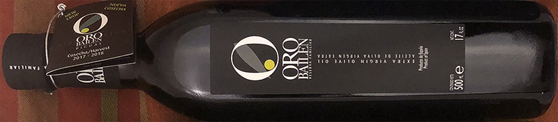 Oro Bailen EVOO  Made by Spain's leading producer of Picual olives. Grill bread and tomatoes, season with salt, and pour SEVERAL ounces of this oil over the top for a delicious treat. Full of clarity and complexity, this gorgeous chartreuse oil has flavors of sage, mint, green tomatoes, grass, and green almonds; bitterness and spice is moderate.  TODAY (12/19) ONLY:   $13.99/ea  (reg $19.99 — save $6!!!)