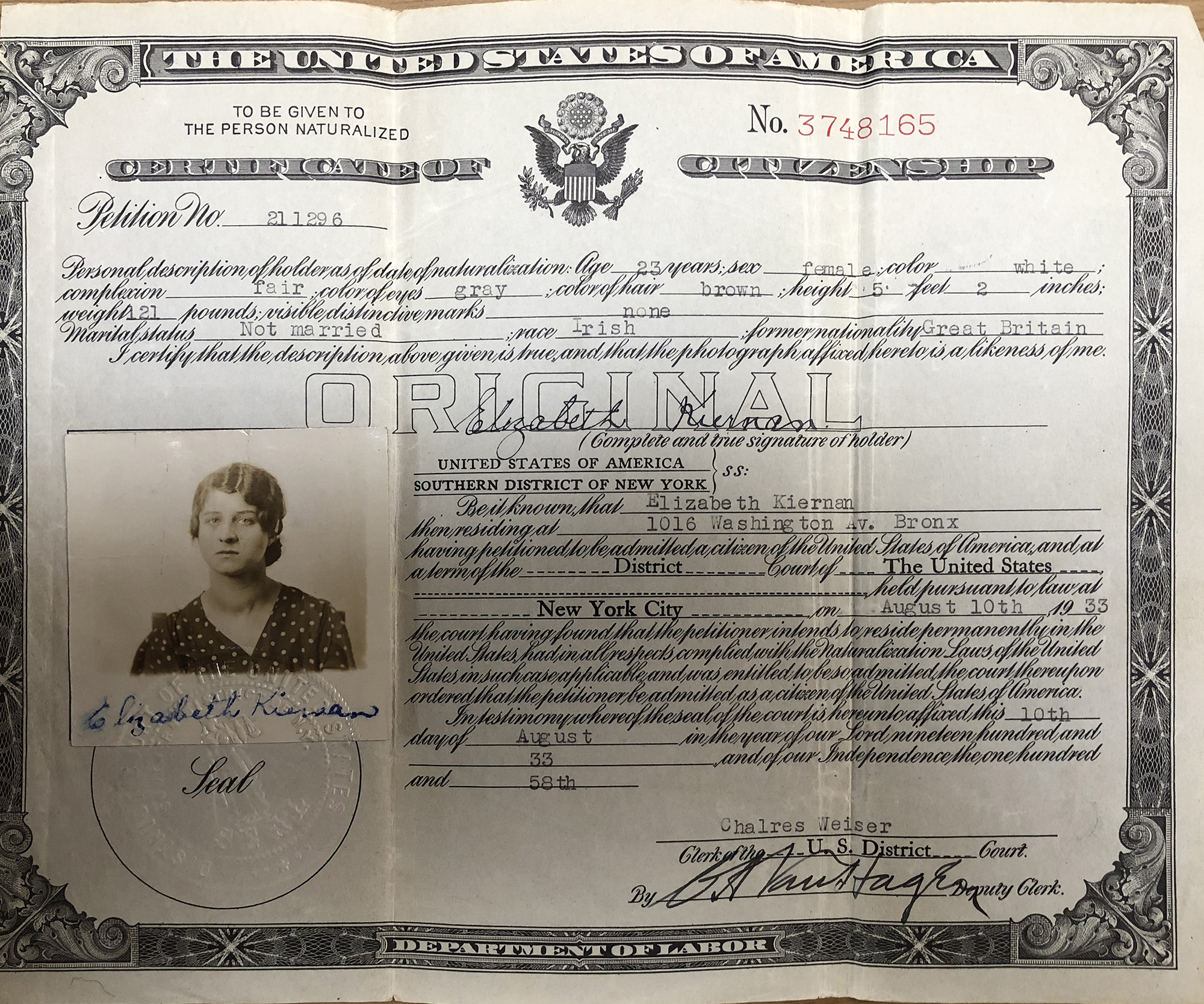 Elizabeth Kiernan Brown's Certificate of Citizenship, issued August 10, 1933. (Click on image for a bigger version.)