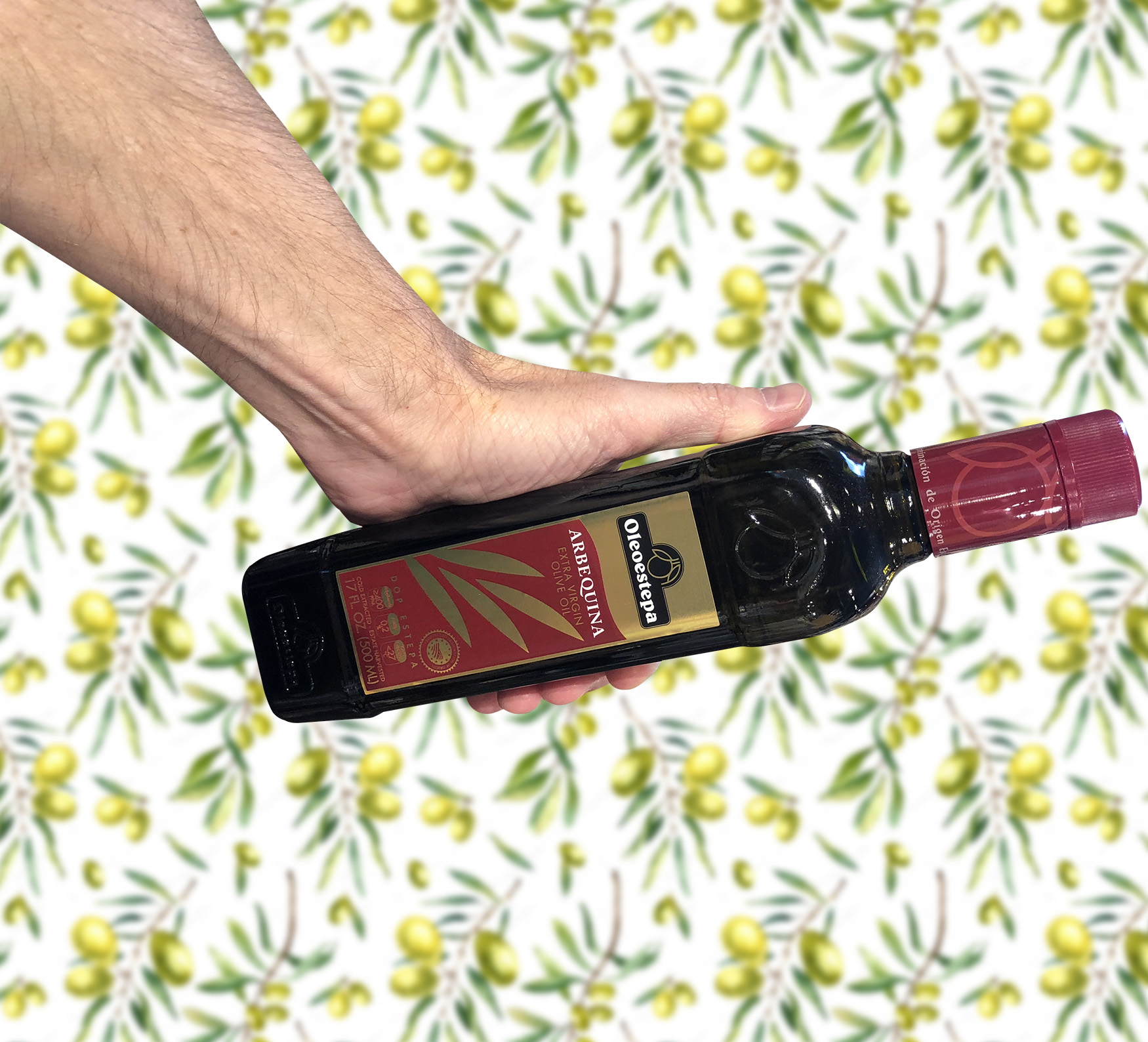 We rolled out our best wallpaper for this photo. Get this bottle of 100% Arbequina olive oil (straight outta Spain) for $1 when you sign up for our online store.  Get that olive oil