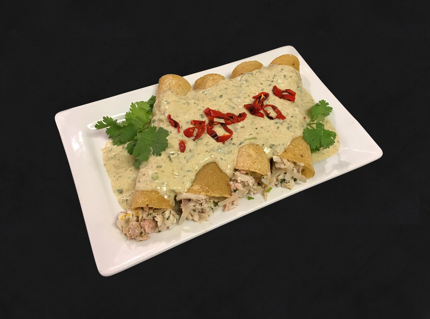 Our September Funky Rotator: Fish Enchiladas. Available at both stores. (Scroll down for more info.)