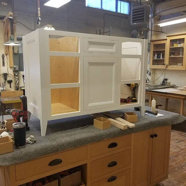 Our shop mate @tom_debrie is putting together this classic legged bathroom vanity. Legs feet. It's a fact. . . Homestead Cabinetmakers  www.welovewoodworking.com Custom Furniture & Cabinetry made in downtown Kalamazoo, Michigan . . Looking for custom woodwork? DM us! . . #customcabinets #woodshop #woodworkersofmichigan #customdesign #handmade #homedecor #finewoodworking #finewoodwork #customwoodwork #madeinmichigan #kalamazoo #sawdusttherapy
