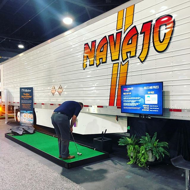 Day two on the floor at TMC! Come test your mini golf skills and win some great prizes at the @flowbelow booth 3239. #fuelefficiency #sustainability #navajoexpress