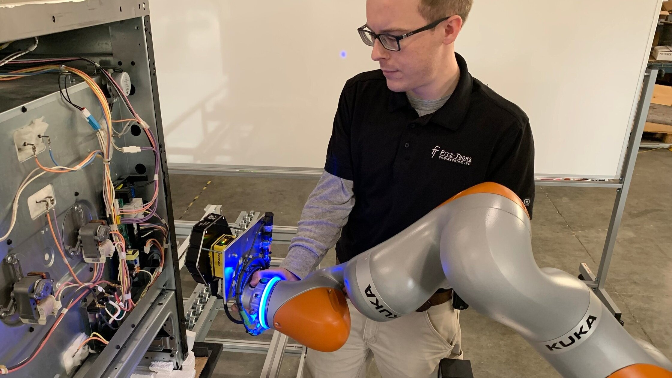 "Collaborative and Cooperative Robots - Manufacturing processes often involve workers directly interfacing with the robotic operation. In these cases, we design an integration solution using ""collaborative"" or ""human collaborative"" robots with power-force and speed limitations programmed to ensure the safety of workers in proximity."