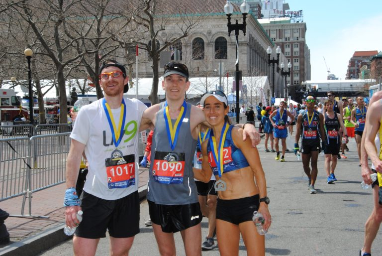 Celebrating at the finish line of the 2017 Boston Marathon with good friends Nat Couture (left) and Colin McQuade (middle)