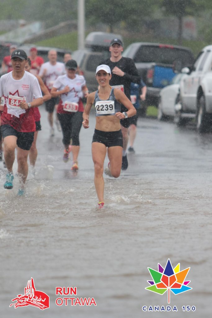 Personal best at the Ottawa Canada Day 10k (36:23), despite the puddles and rain!