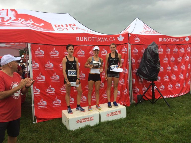 2017 Canada Day Ottawa 10k with Chelsea Ley (left) Cleo Boyd (right)