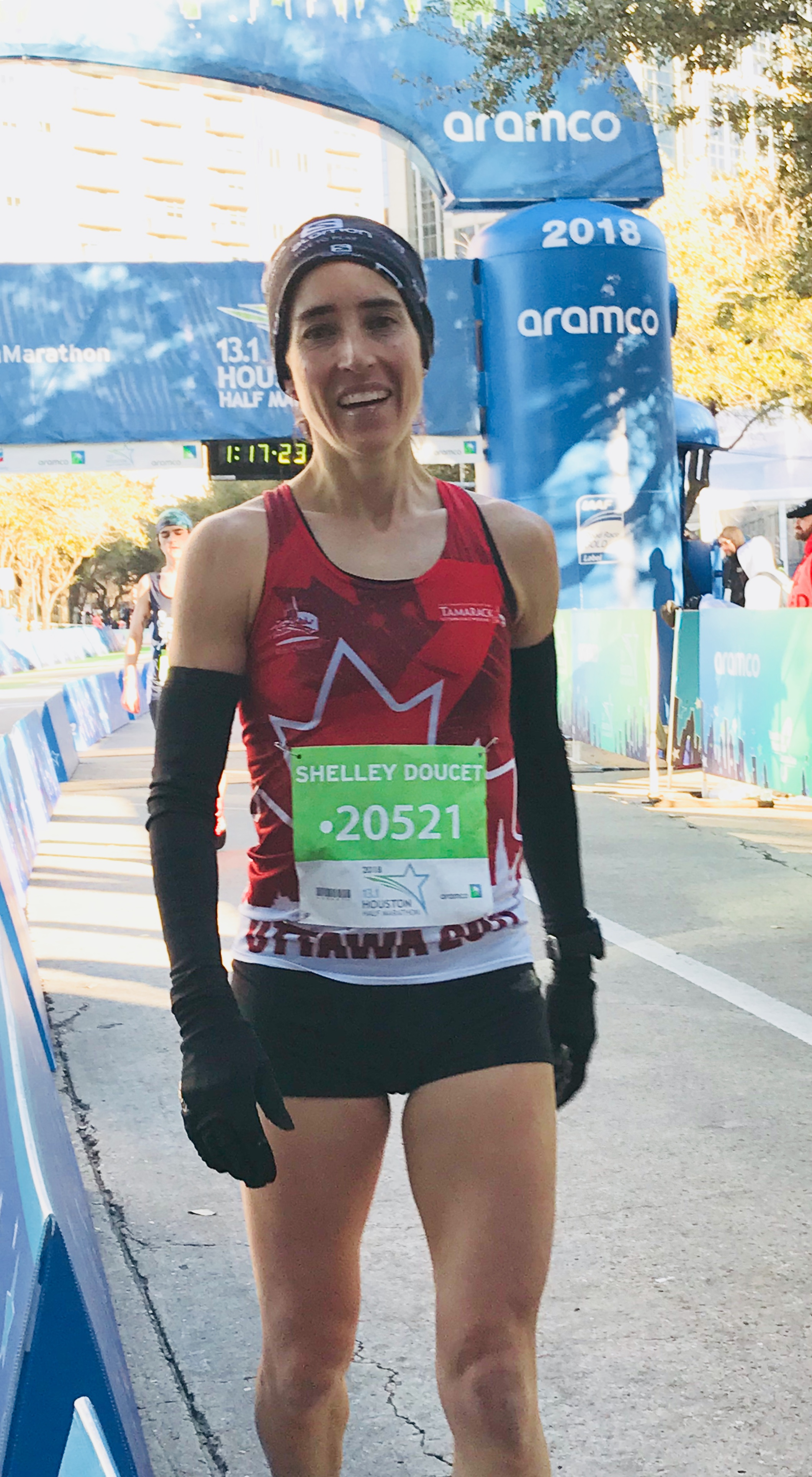 Finish of the Houston Half, New PB 1:17:07 and NB Provincial Record!