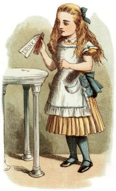 """Alice, confronted by the """"Drink Me"""" label..."""