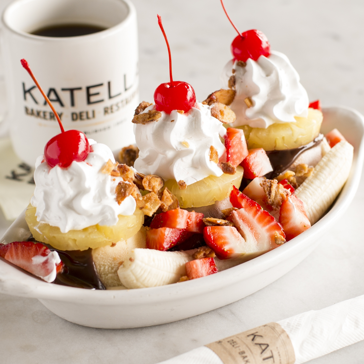 Katella Restaurant famous banana split with a cup of coffee