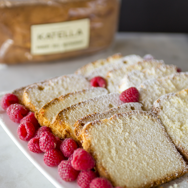 Katella Bakery pound cake slices with fresh raspberries