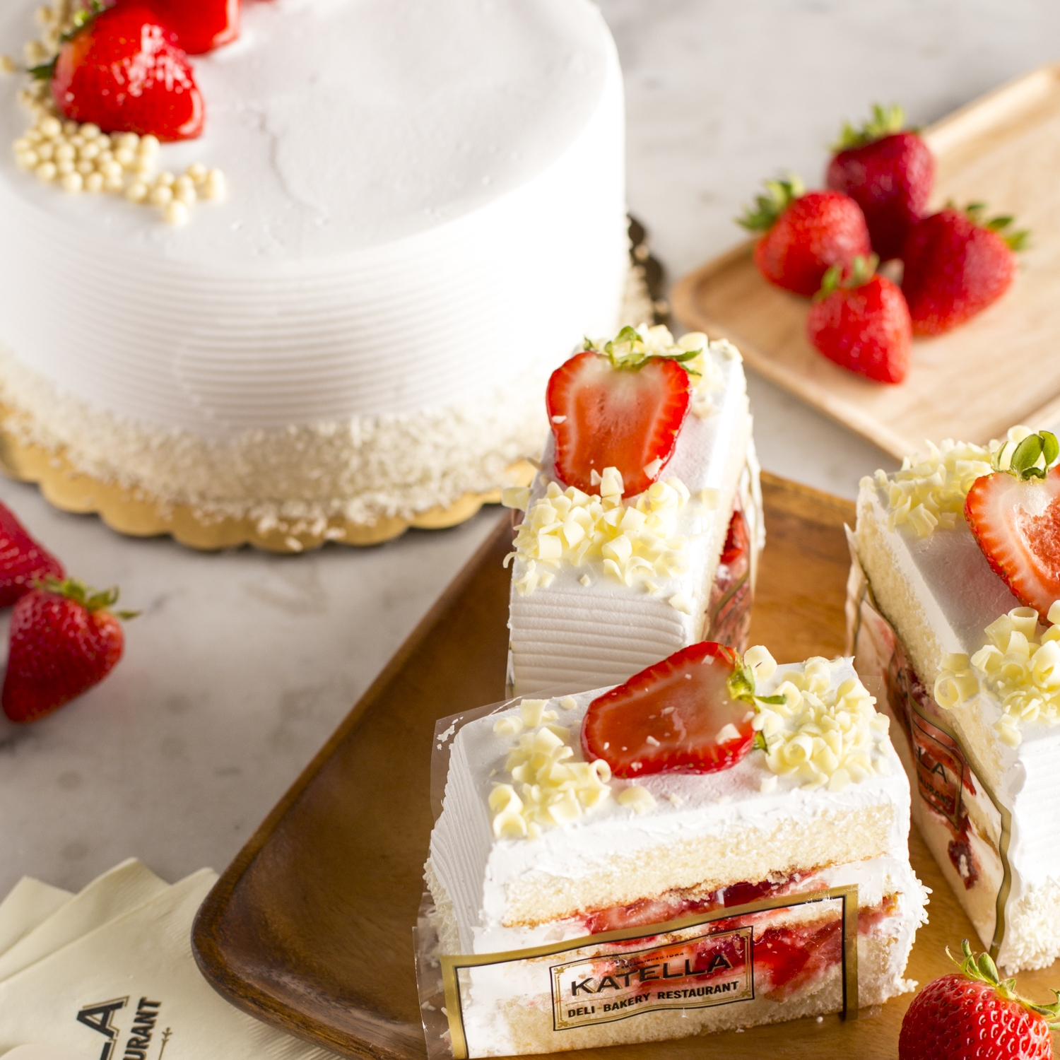 Katella Bakery specialty white chocolate  and strawberry cake