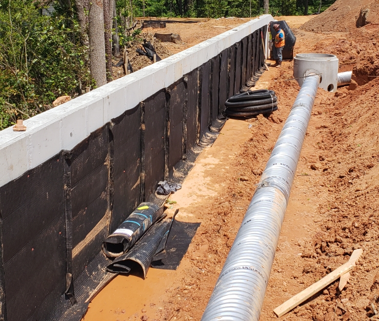 Retaining Wall Drainage Solution