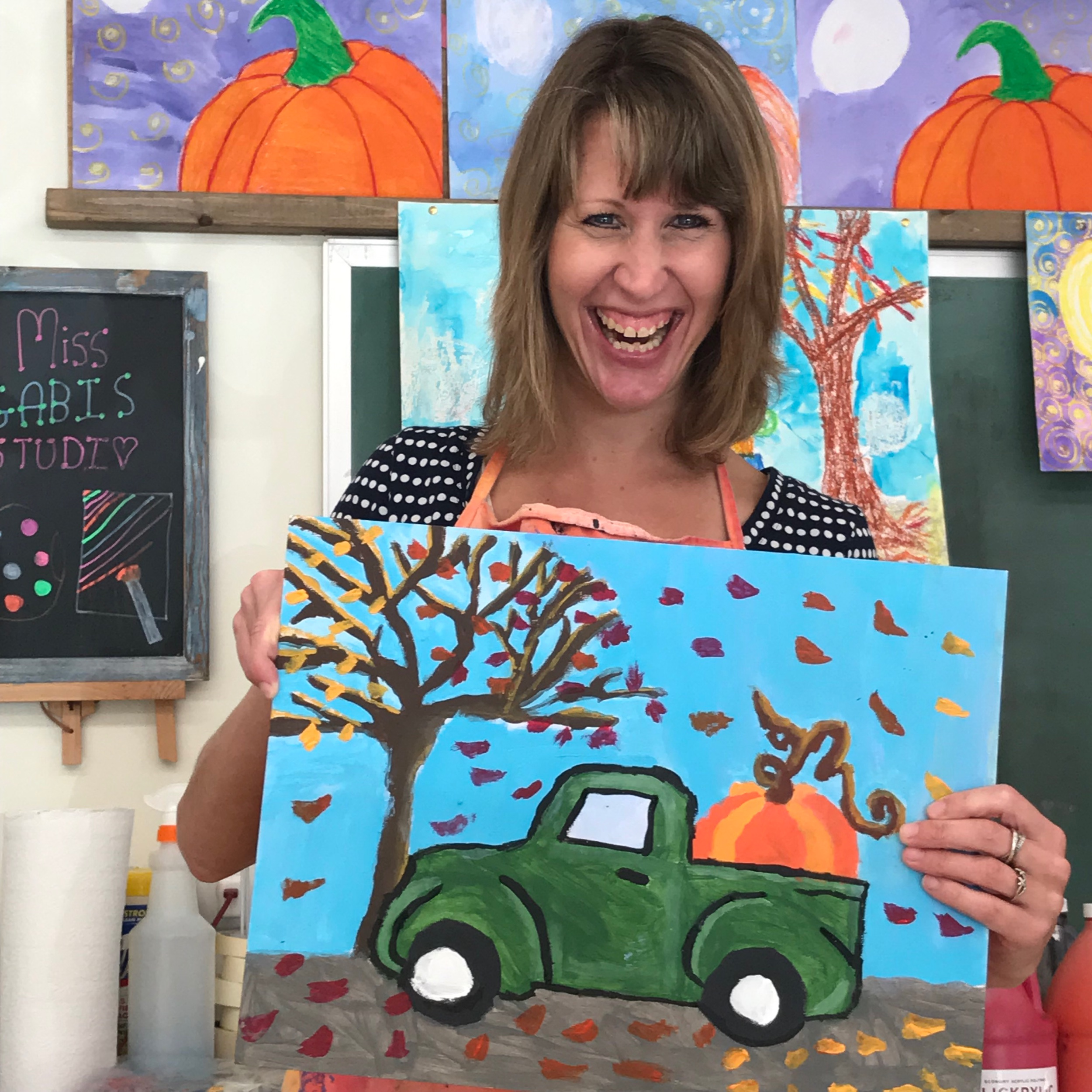 Miss KATIE and her amazing fall themed pickup truck!