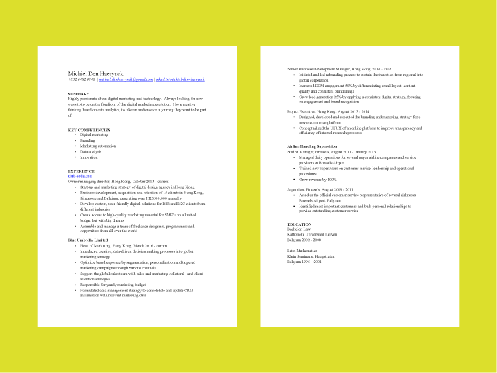 Ignition Career Coaching Resume Content Example