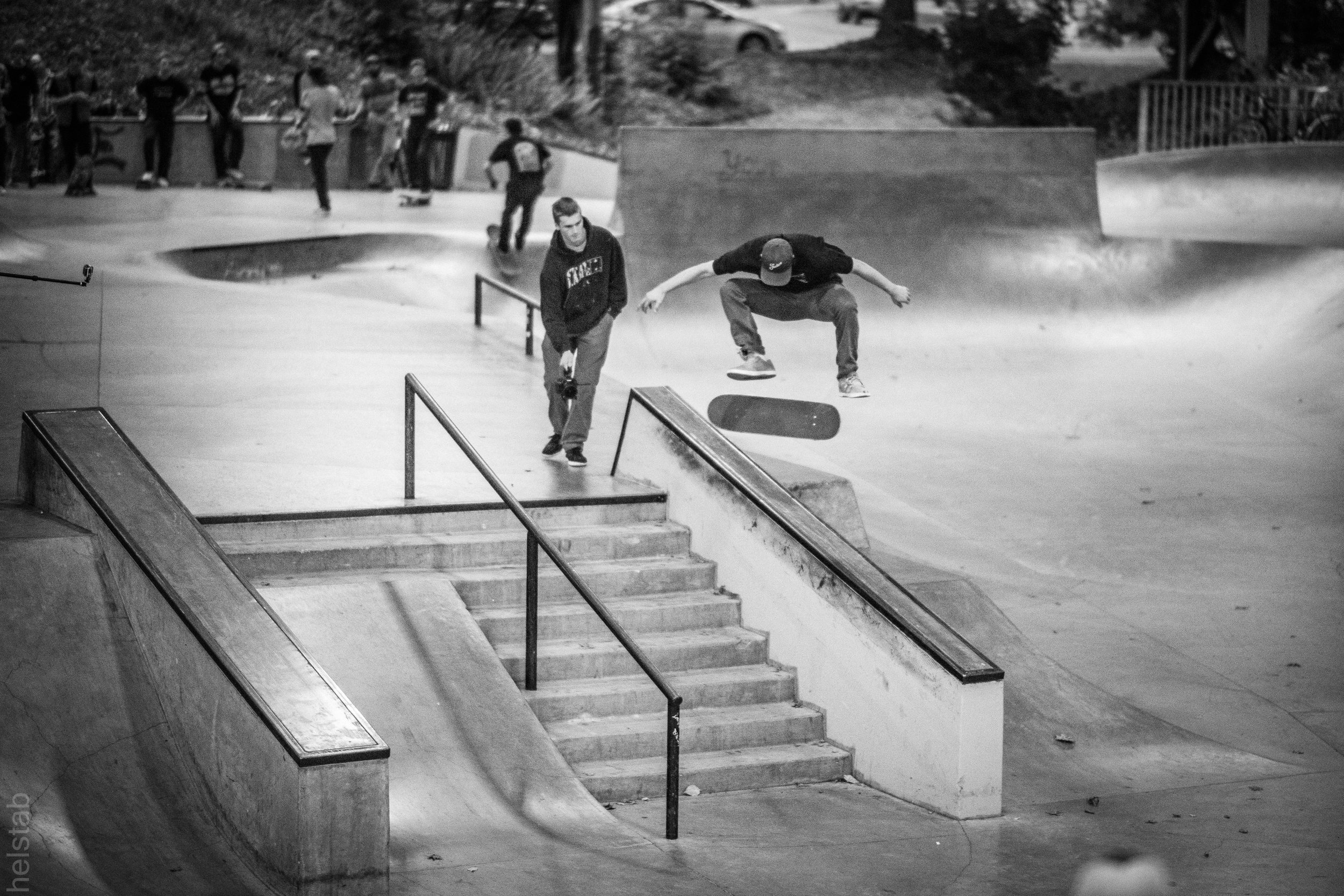 Caleb 'Peep Game' Grant - Kickflip Over Ledge - Photo. Matt Helstab