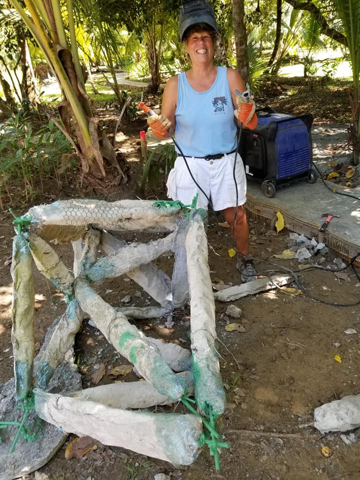 Robin building a reef structure that will be covered in environmentally friendly concrete appropriate for the new home of growing corals.