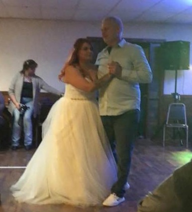 """Dave, Renee's husband, was overwhelmed when Alex surprised him with a """"father/daughter"""" dance."""