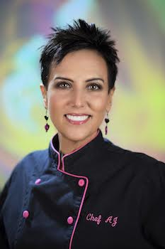 """CHEF AJ - Chef AJ has been devoted to a plant-exclusive diet for over 40 years. She is the host of the television series Healthy Living with CHEF AJ which airs on Foody TV. With her comedy background, she has made appearances on The Tonight Show Starring Johnny Carson, The Tonight Show with Jay Leno, The Late Show with David Letterman and more. A chef, culinary instructor and professional speaker, she is author of the popular book Unprocessed: How to Achieve Vibrant Health and Your Ideal Weight, which chronicles her journey from an obese junk-food vegan faced with a diagnosis of pre-cancerous polyps, to learning how to create foods that nourish and heal the body. Her latest bestselling book The Secrets to Ultimate Weight Loss: A Revolutionary Approach to Conquer Cravings, Overcome Food Addiction and Lose Weight Without Going Hungry has received glowing endorsement.Based in Los Angeles, Chef AJ teaches a monthly sold-out seminar featuring cooking instruction, nutritional science and song parodies, all delivered with comedic panache. Never content to leave her audience with mere """"just do it"""" advice, she teaches how to create meals to transform their health, how to deal with cravings and food addiction and addresses the emotional side of eating. She is the creator of the Ultimate Weight Loss Program, which has helped hundreds of people achieve the health and the body that they deserve.Chef AJ was the Executive Pastry Chef at Santé Restaurant in Los Angeles where she was famous for her sugar, oil, salt and gluten free desserts which use the fruit, the whole fruit and nothing but the whole fruit. Chef AJ is also creator of Healthy Taste of LA and the YouTubecooking show The Chef and the Dietitian,. Chef AJ holds a certificate in Plant-Based Nutrition from eCornell University and is proud to say that her IQ is higher than her cholesterol. In 2018 she was inducted into the Vegetarian Hall of Fame."""