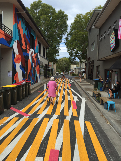 Lymesmith had a dual role in the  Elysium  project – as both artist and colour consultant, designing and selecting the colour palette for all artists to use, and creating the road surface artwork 'Runnel'.