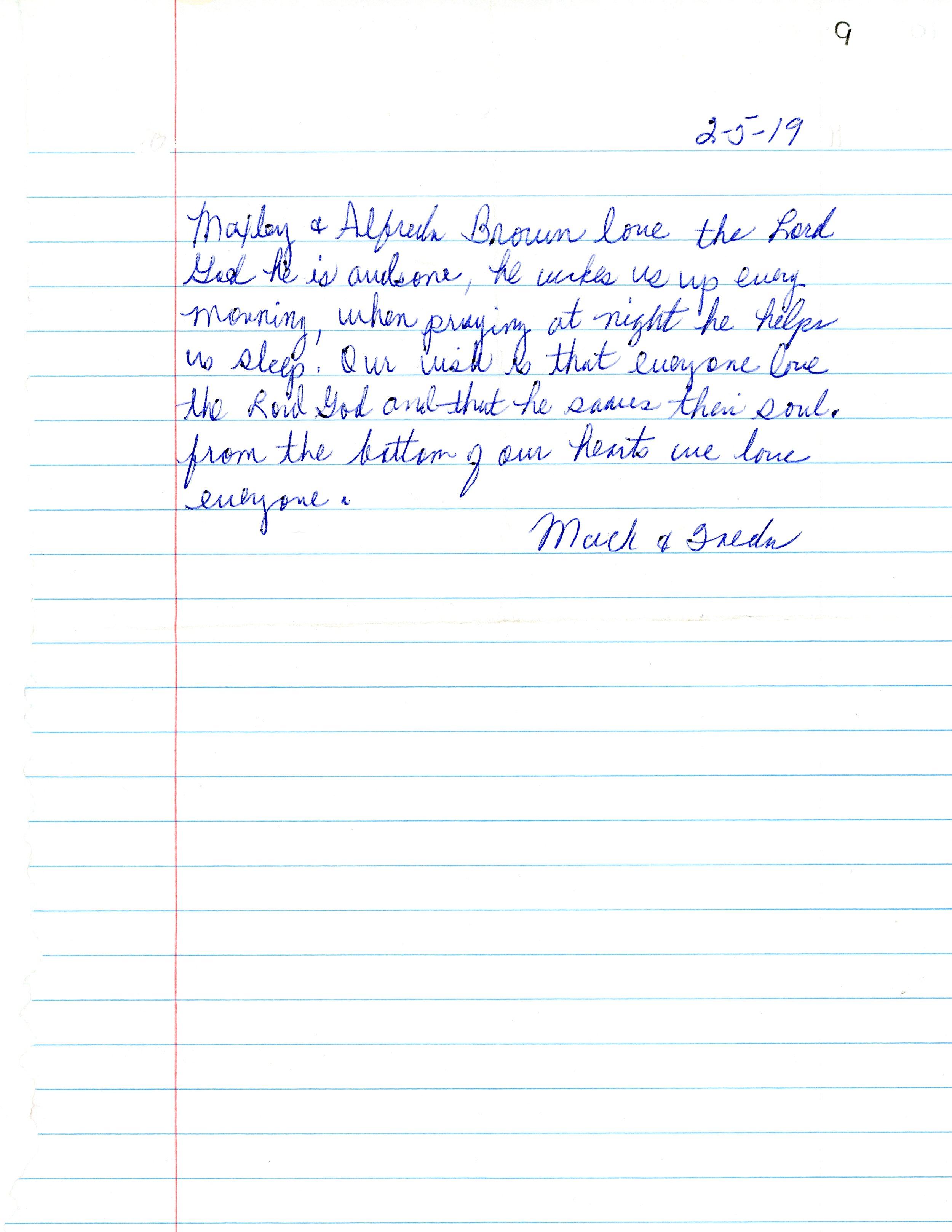 Mack & Freedas Letter.