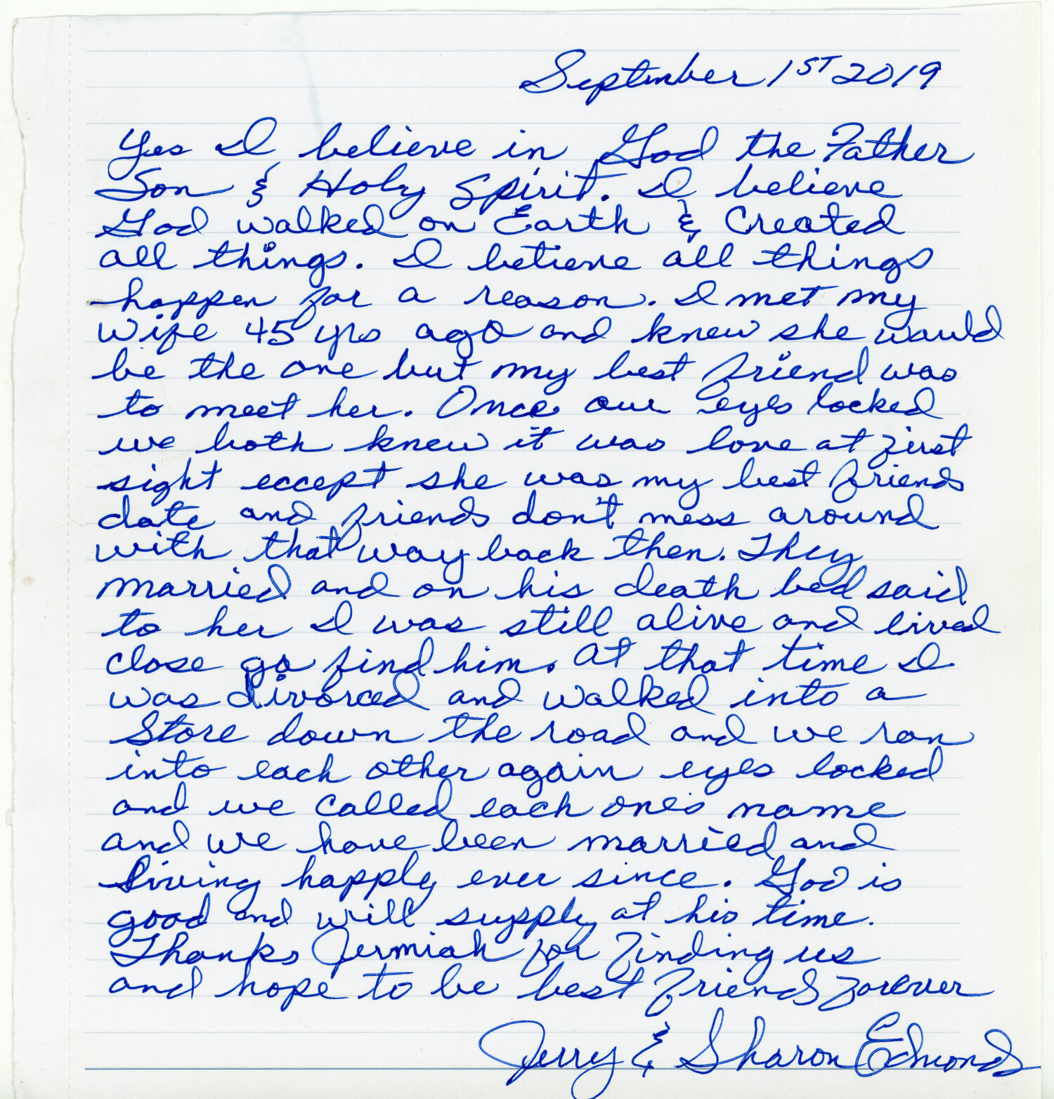 Jerry & Sharons Letter