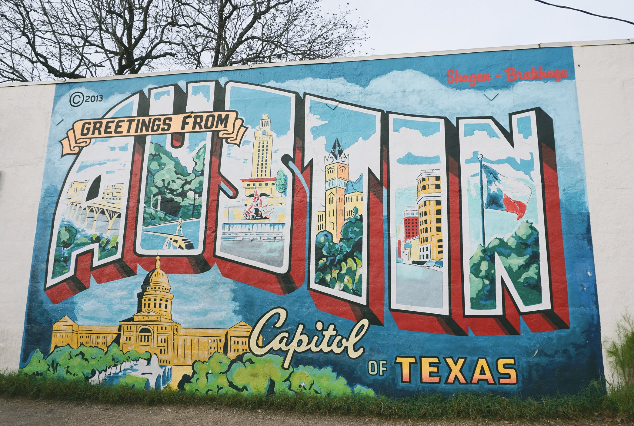 "Take a pic in front of the ""Greetings from Austin"" mural located on 1st ST. (1720 S 1st St, Austin, TX 78704)"