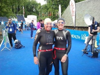 Diane and me getting ready for a practice swim in London