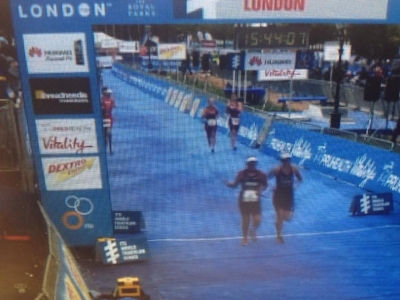 Crossing the finish line at ITU Paratriathlon Worlds