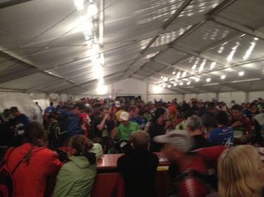 Aid station at Champex-Lac. Craziness in that tent!