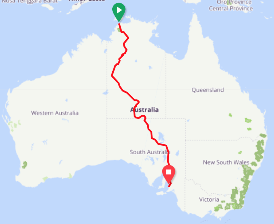 A glimpse of Katie and Henley's transcontinental route