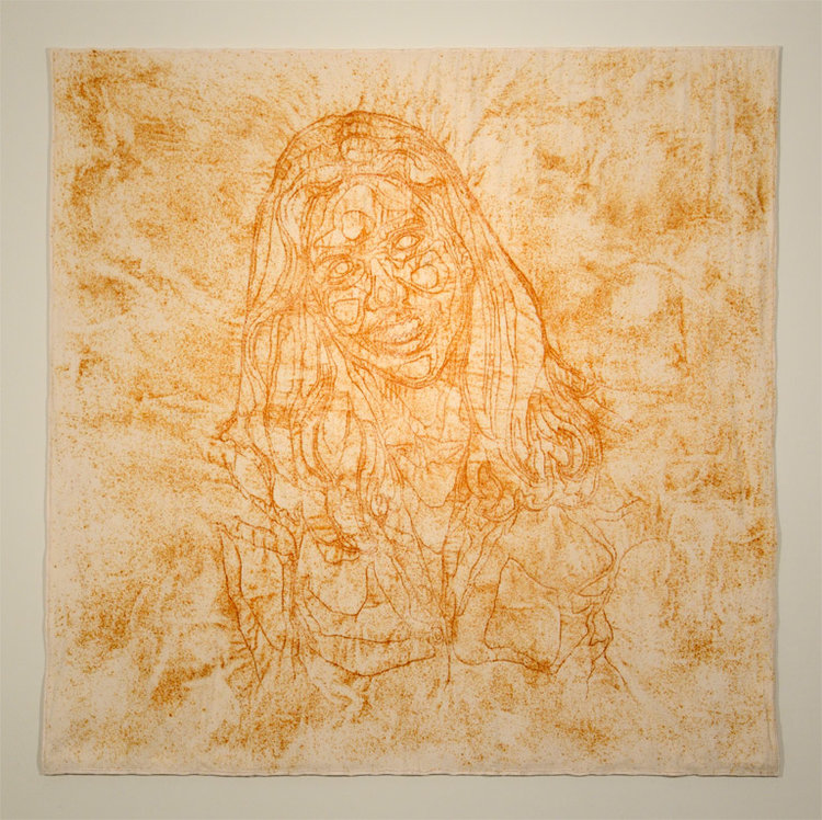 Mother Earth,  Rust dyed cotton flannel, machine quilted topographical map of my mother, 2013