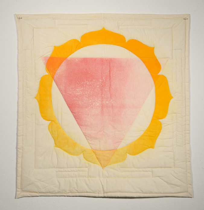 Untitled Yantra,  oil-based relief print on cotton, machine quilted with batting and thread. 2013
