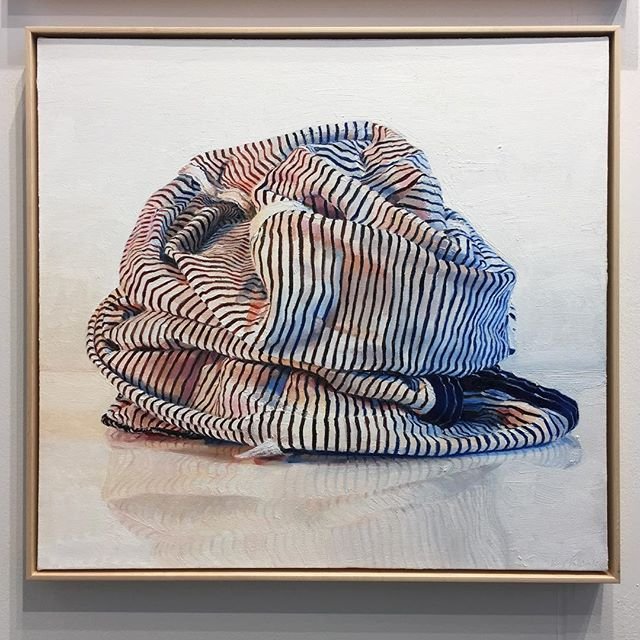Gotta love those folds and wrinkles! I suppose paintings of fabric don't really count as textile art, but they still make me happy. This piece stood out as another favorite at SF Art Market: Black and White Stripes by Ray Kleinlein. Oil on canvas, 28in x 30in, 2018. . . . . . #raykleinlein #paulthiebaudgallery #foldsandwrinkles #sfartmarket #sfartmarket2019 #sanfranciscoartmarket #fortmason #fortmasoncenter #artmarket #artfair #artfairs #textileart #oilpainting  #painting #contemporaryart #art #artist #artinspiration #artstagram #artistsofinstagram #bayareaart #bayareaartist #sanfranciscoart