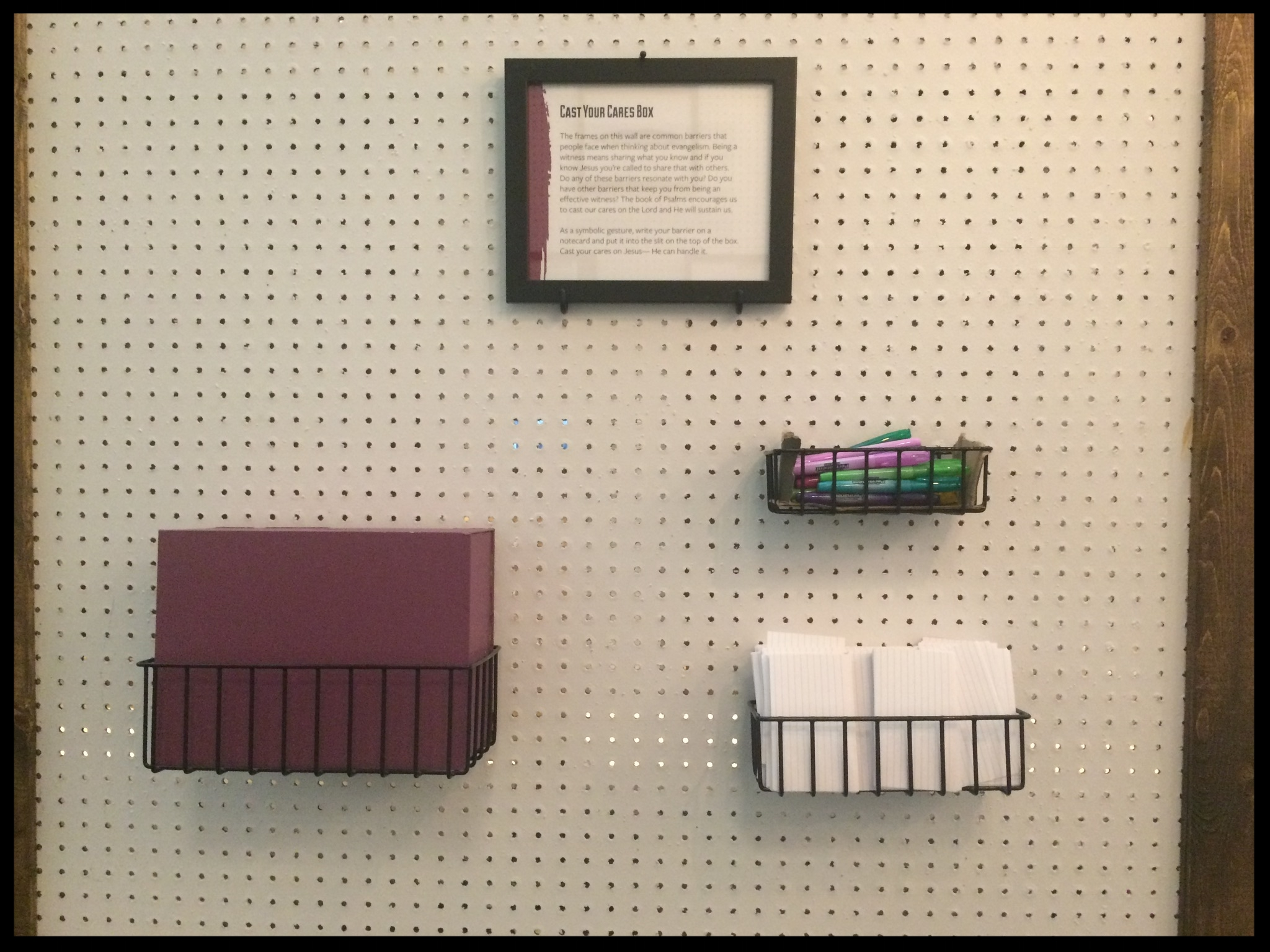 Cast Your Cares Box: the interactive portion of my Barriers wall.
