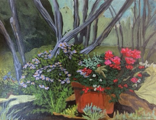 Painted the day preceding the Garden Tour, to get a feel for painting on a black surface