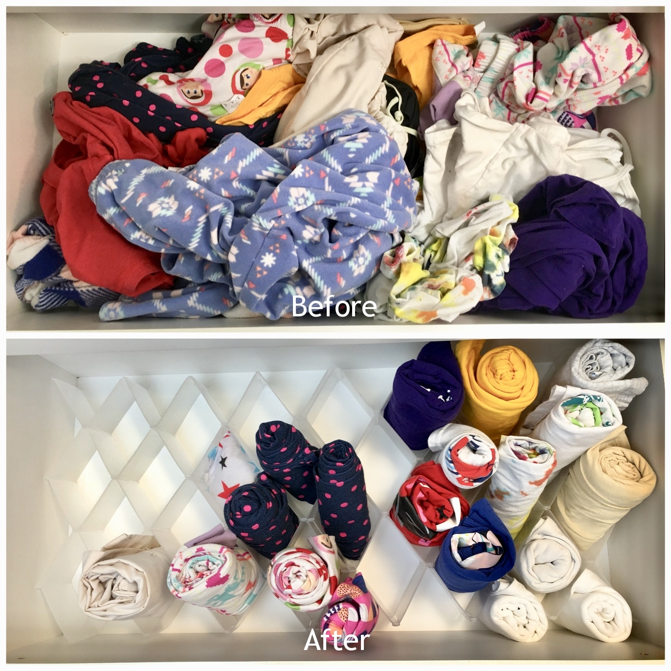 After going through this neglected drawer, we were able to identify a lot of clothing that she had outgrown.