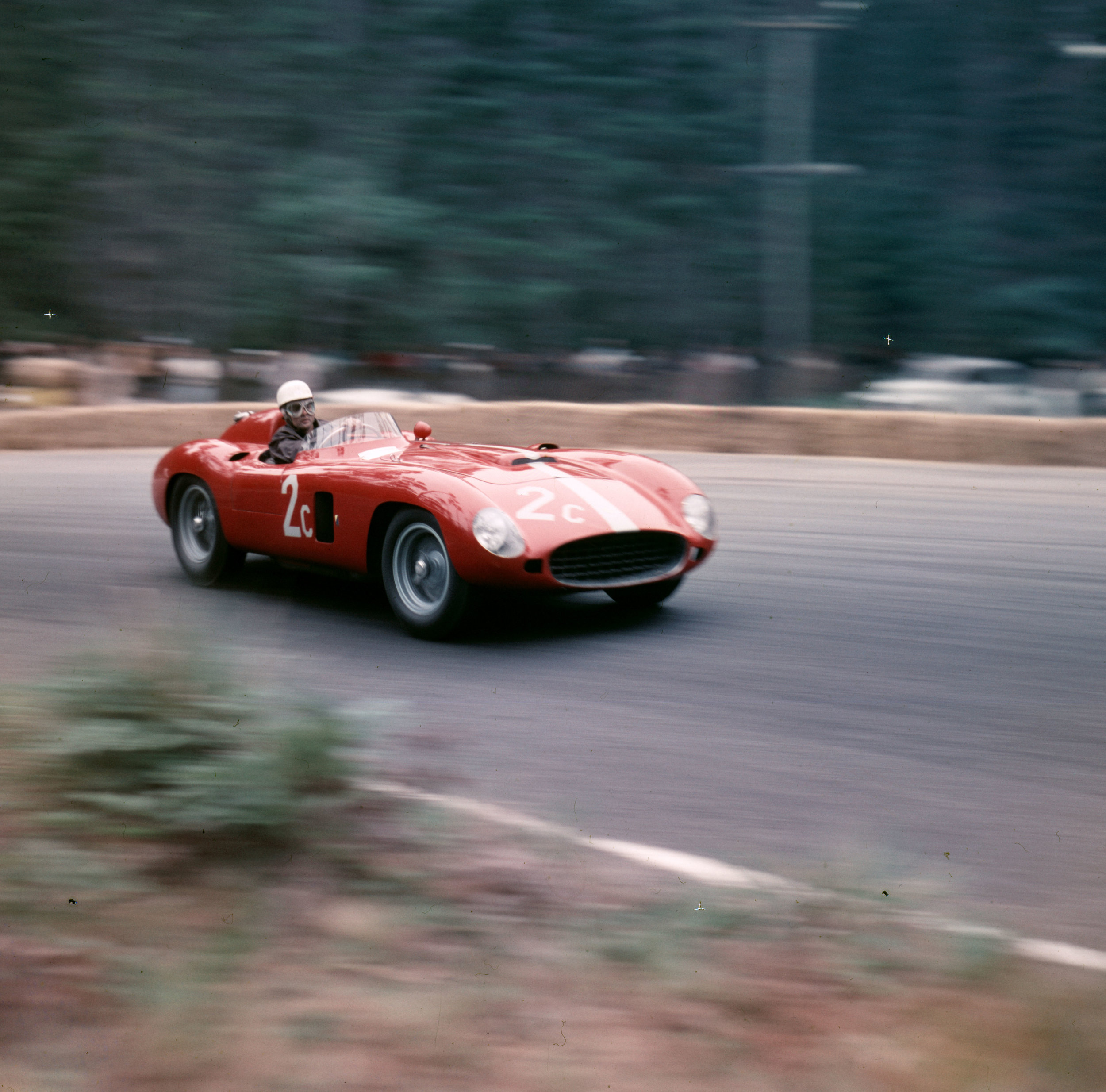 Phil Hill on track   Pebble Beach, April 1956: Phil Hill showing a little oversteer in the 860 Monza of Ferrari west coast distributor John von Neumann. He finished second to Shelby in the Del Monte trophy race.