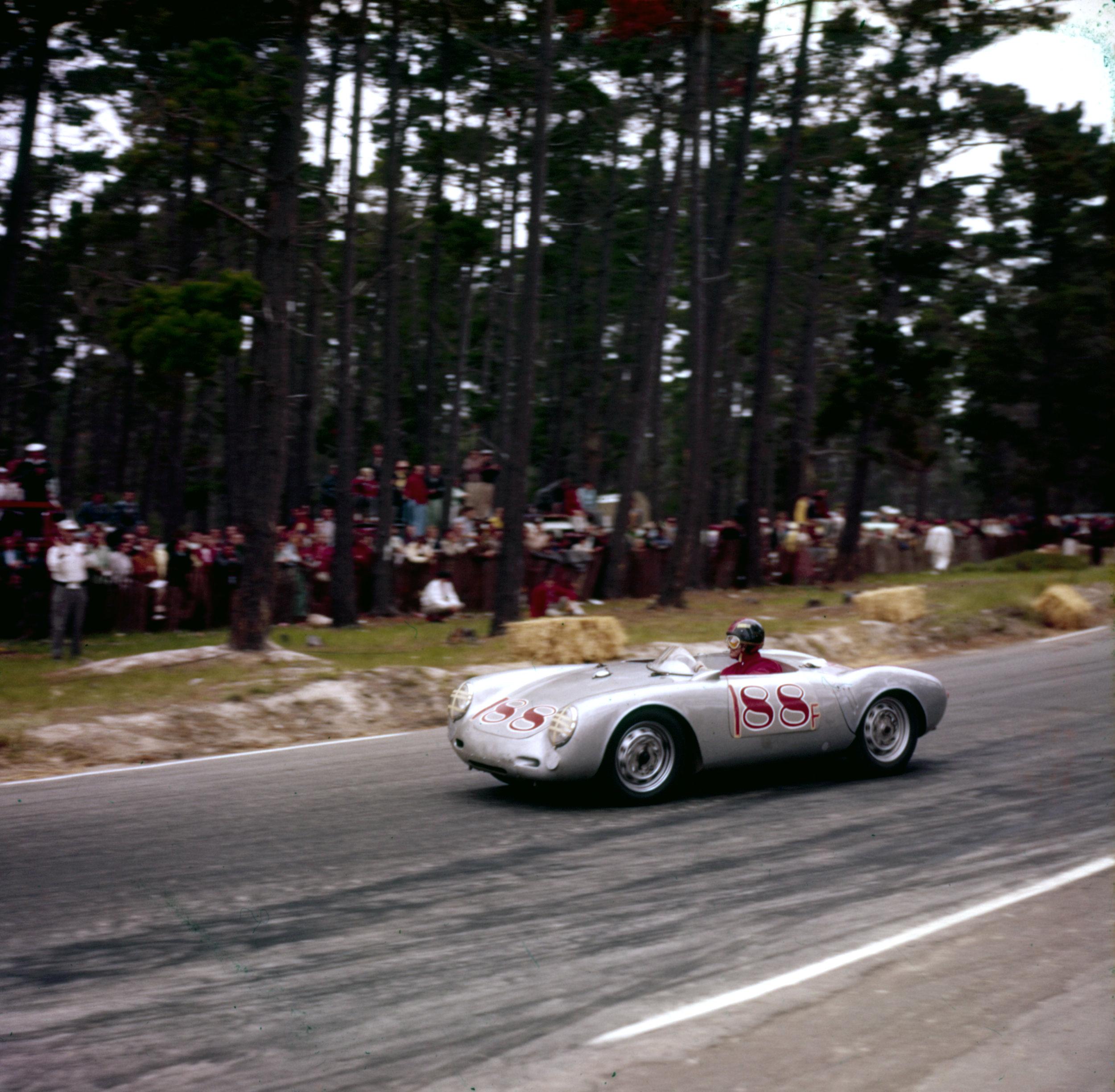 Jack McAfee in Porsche Spyder 550   Pebble Beach 1956, Jack McAfee winning the under 2-liter class in one of John Edgar's three Porsche 550 spyders.