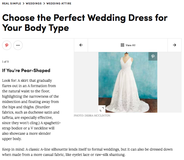 Real Simple Wedding Dress Body Type Guide