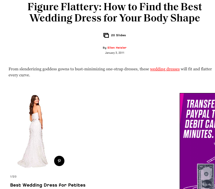 Glamour's wedding dress by body type guide