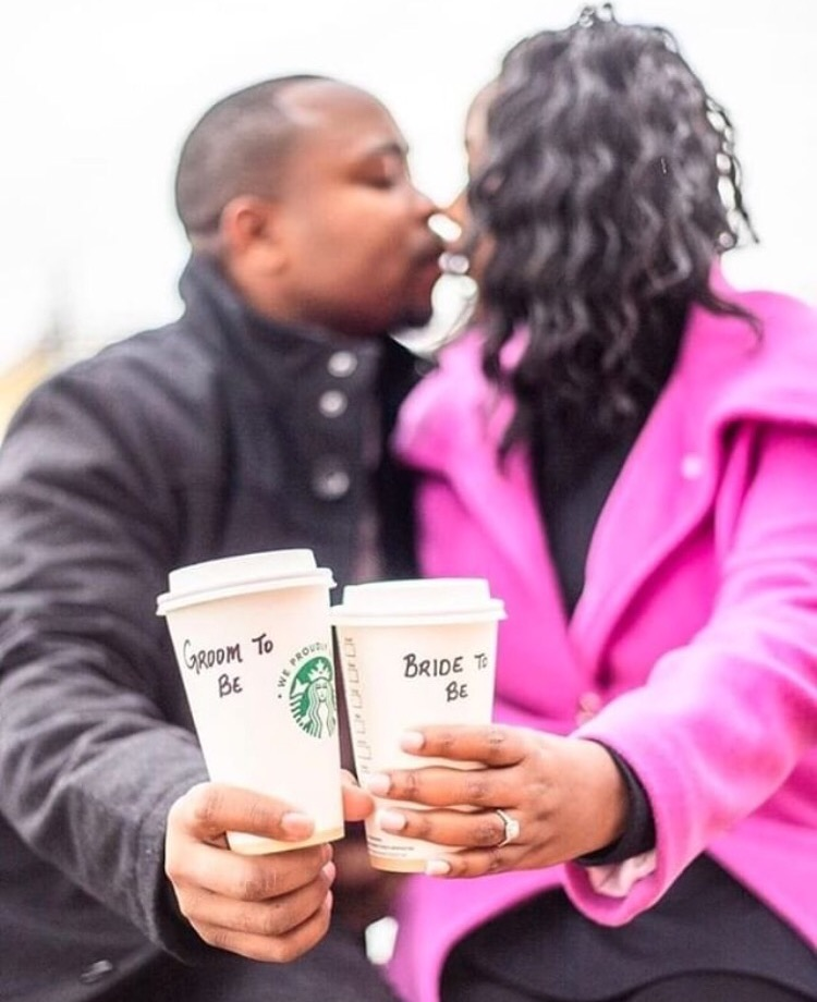 couple drinking starbucks coffee engagement photos