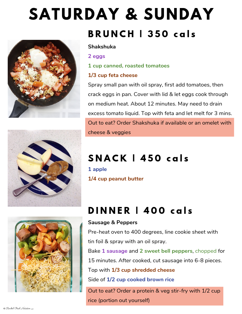 1 Week Meal Plan for Engagement Pics