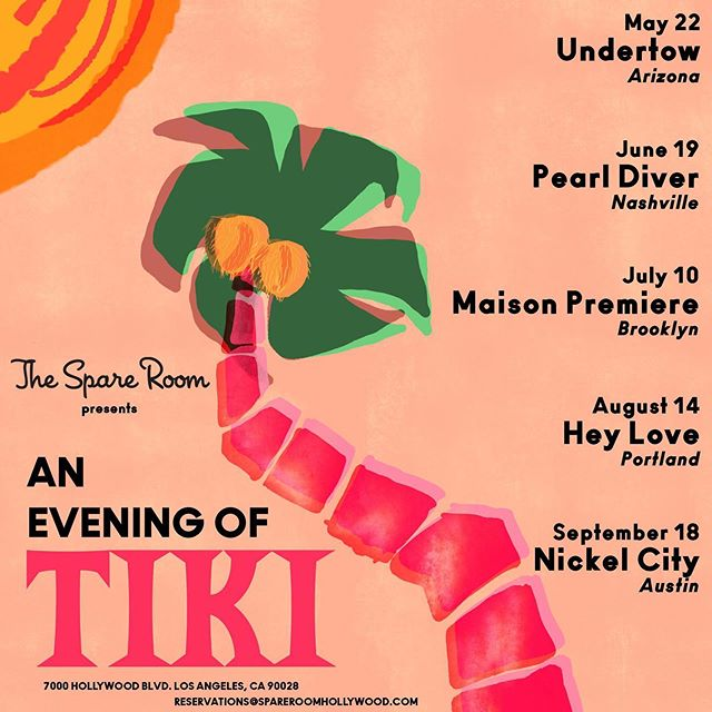 An Evening of Tiki kicks off this week! Join us all summer long as we host an amazing lineup of bartenders 🌴🌺🌴🌺