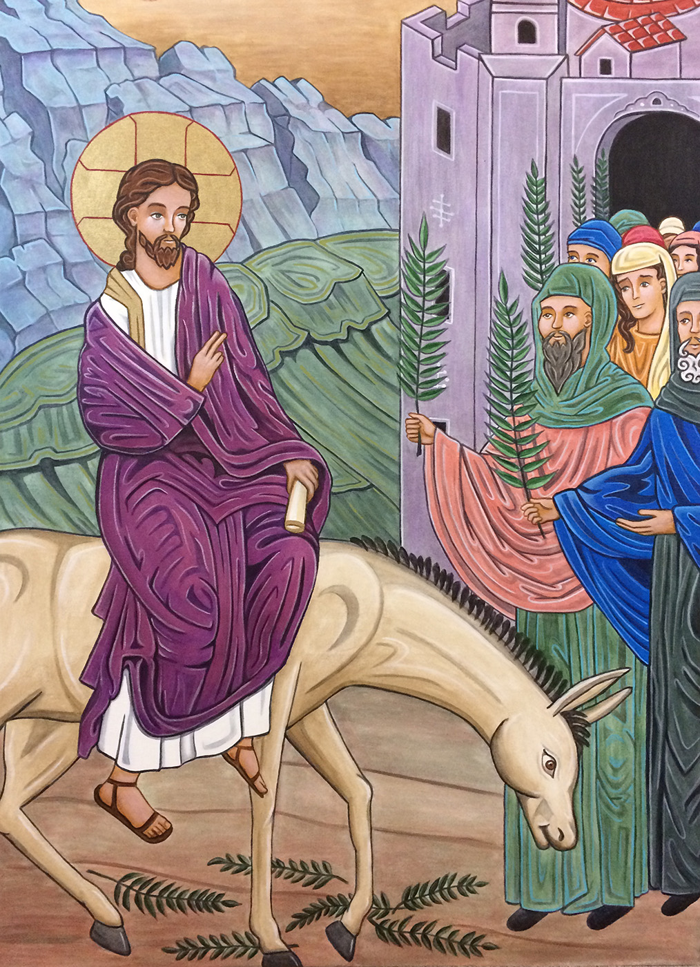 Triumphal Entry - We enter into the icon's passion narrative with an image of Palm Sunday. As Jesus rides into Jerusalem for Passover, crowds greet Him as the Messiah and King of Glory. He holds a scroll, signifying scripture and the fulfillment of prophesies within it.
