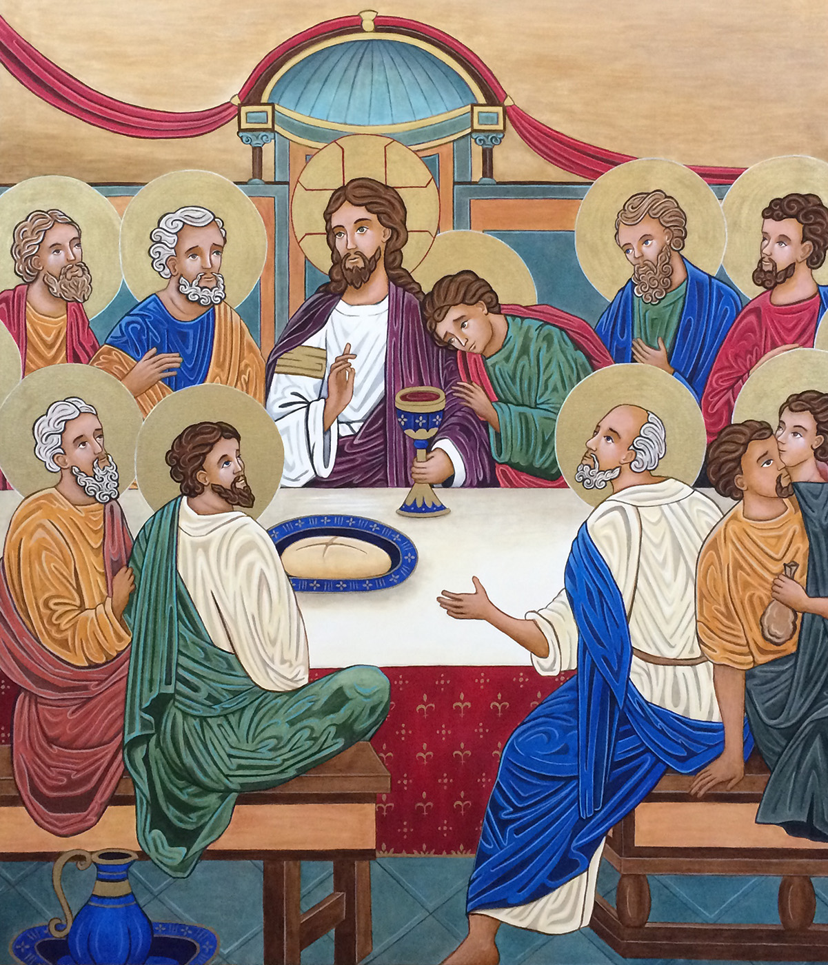 Institution of the Eucharist - At the Passover meal with His apostles, Jesus institutes the New Covenant when He blesses the bread and wine, changing them into His body and blood. The gesture of Jesus' blessing hand shapes the letters ICXC—an abbreviation using the first and last letters of the Greek words, Jesus (IHCOYC) and Christ (XPICTOC)—and so He blesses with His Holy Name. Notice the reactions and emotions of the apostles (back row: Andrew, Peter, (Jesus), John, Jude, James the Greater; front: Matthew, James the Less, Simon, Judas, and Philip). Part of two halos at the sides are for Thomas and Bartholomew, but also suggest that the scene continues out beyond what is shown. In fact, it continues out to us as we are included in this timeless act of sacrifice with our offering of the Eucharist at each Mass. The tabernacle becomes a three-dimensional element emerging from the two-dimensional scene, and Jesus becomes truly present for us in the Eucharist.Notice how the people in the icons are illuminated from within. As we each have an immortal soul, made in the image and likeness of God, and are temples of the Holy Spirit, the degree to which a person embraces those truths is reflected in how much we can see the light which is within them. The light is streaming out of the eyes of Jesus and shining through His skin; He also has a halo, signifying light emanating from His head. In contrast, Judas the betrayer has shrouded his light with self-interest and greed, and so he is less illuminated and has no halo. He grasps his sack of 30 silver coins, and turns away from the covenant meal.
