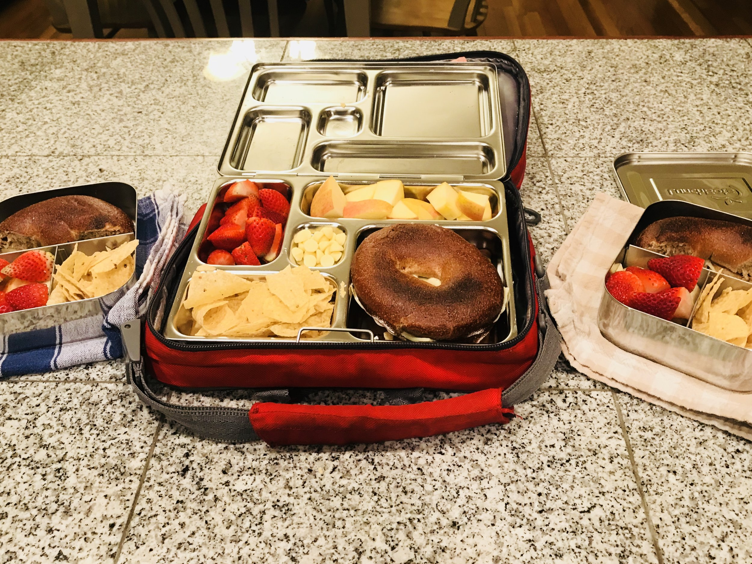 Kids lunches! No, I don't love the one kid the most. My big girls like the smaller containers better, and my littlest always each every last bit of this huge lunch. IDK. It's just the way it is.