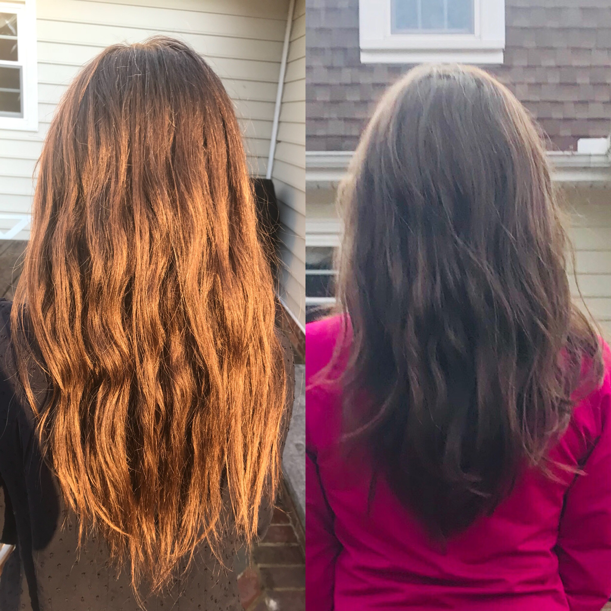 Pre and post hair cut - Both pictures are my hair with no products at all, washed with shampoo bar/conditioner bar, combed wet, then air dried.