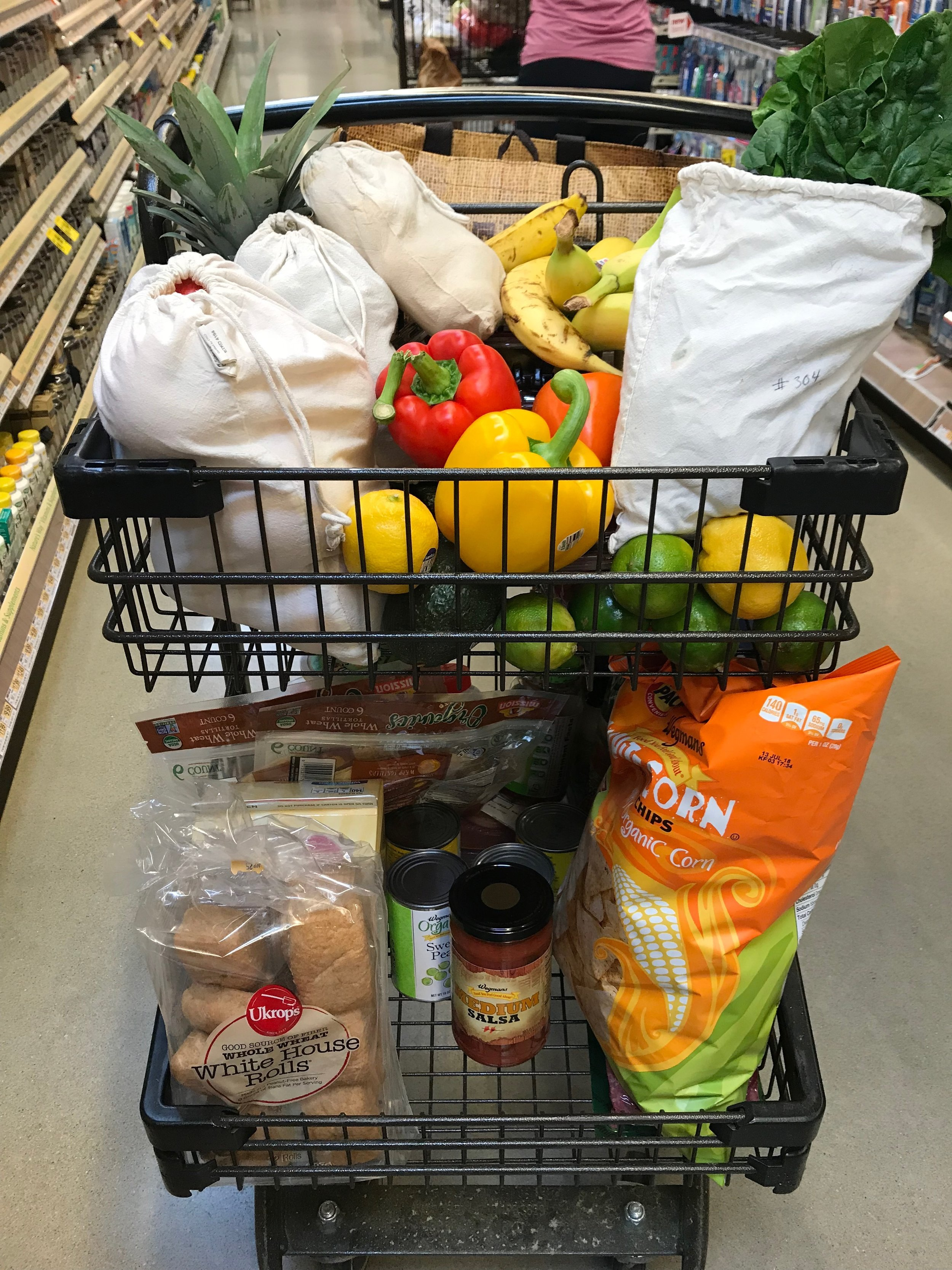 This is my actual cart. Green on top, packaged on bottom. I'm not super proud of the tortilla chips or packaged tortillas. The Rolls are made locally. Homemade tortillas and bread are amazing, but most nights dinner is not happening if I need to make it all from scratch. And, while I respect you people who cook everything on Sunday, it just isn't something that happens in my house.